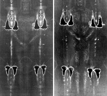 Spot the difference: Negative images of the Shroud of Turin (left) and a modern replica made by scientists