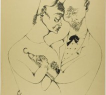 Heinrich Hoerle. The Married Couple, from Krüppel, 1920.  Lithograph in black on tan wove paper 517 x 414 mm (image); 591 x 460 mm (sheet)