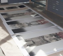 Koichi's prints, so large they had to be displayed on the floor