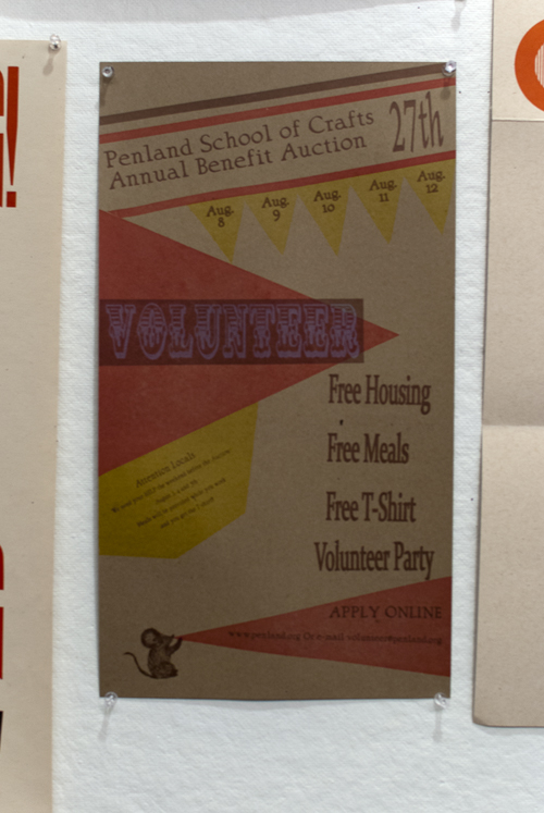 More hand printed annoucements, this one asks for volunteers for the annual benefit auction