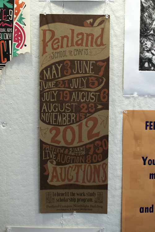 A hand printed announcement for the school's schedule of scholarship auctions