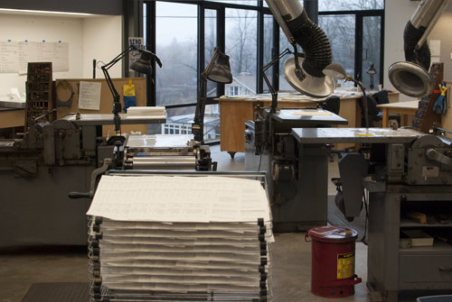 Penland's letterpress studio has a pinwheel of SP 15 and three #4 Vandercook presses