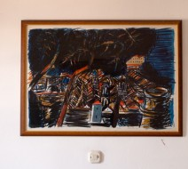 A giant litho on my hotel room wall, Lopud Island, Croatia.