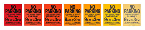 "Oli Watt, ""No Parking,"" screenprint on varying paper"