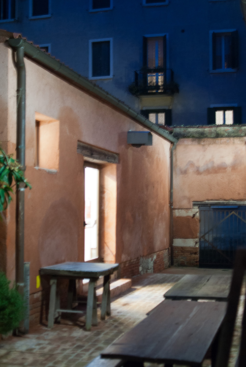 The courtyard and artist in residence studios at the Scuola in the dawn light.