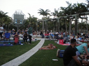 A park full of attendees waiting to see Robert Haas and Nikky Finney read poetry live at Soundscape Park.