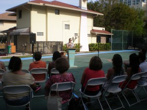 Post-pool party poetry reading at the Edgewater Poetry & Athletics Club. O,Miami.