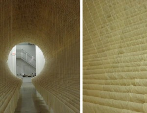 """""""Boat"""" by Zhu Jinshi shown at the Rubell Family Collection Gallery in Miami. """"Boat"""" is an architectural piece made entirely of Xuan paper, bamboo and cotton thread."""