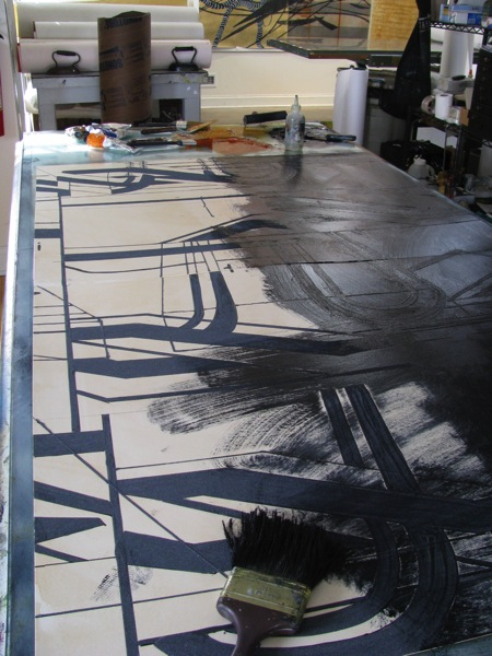 INKING UP LARGE COLLAGRAPH PLATE
