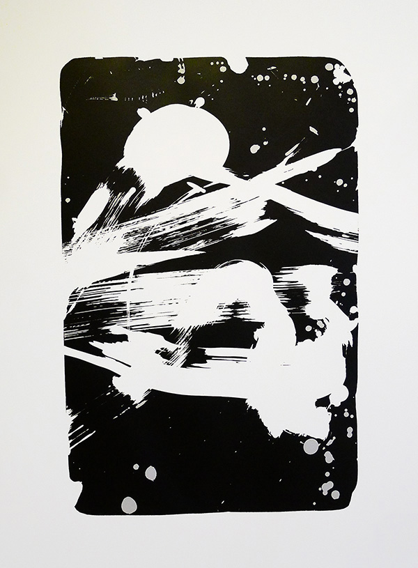 Test print from Litho stone / gum arabic printed in reverse.
