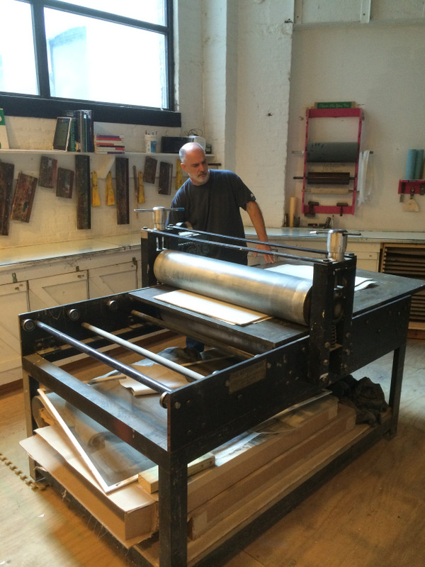 Operating the Wepplo Press at Gowanus Studio Space