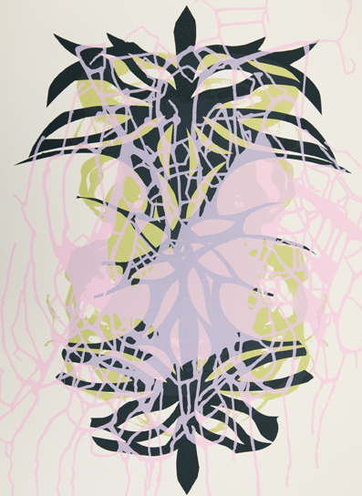 "Janaina Tschäpe, Spilling Memory 68, 2014, Silkscreen monoprint, 28"" x 21"" image and sheet, Unique; only one available."